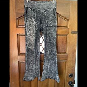 Distressed black embellished cotton pants